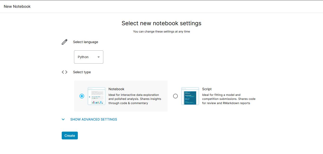 Kaggle notebook settings