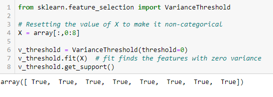 feature selection - variance threshold