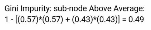 Gini impurity of the sub-nodes